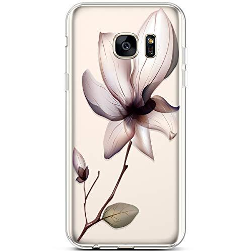 Robinsoni Funda Compatible con Samsung Galaxy S7 Edge Brillo Suave Silicona TPU Gel Goma Funda con Flexible Ultra Suave Transparente Caja Ultra Delgada Carcasa Bumper Shell, Flor de Acuarela