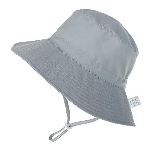 Baby Hut Sommer UV Schutz 50 Sonnenhut mit Verstellbarem Kinnriemen Breite Krempe Sommermütze Atmungsaktiver Niedlicher Muster Fisherhut Mädchen Junge Sommerhut, Grau