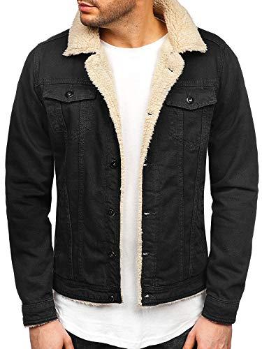 BOLF Herren Übergangsjacke Jeansjacke Trucker Jacket Sherpa Jacke Denim Vintage Classic RWX 1901 Schwarz-Weiß XL [4D4]