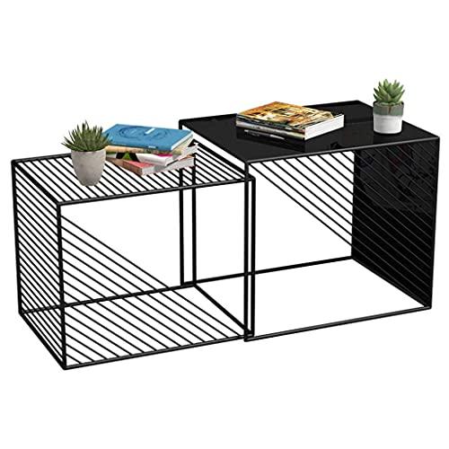 SaiFei Bellissimo tavolino in Ferro battuto Combinato Soggiorno Camera da Letto Balcone Mini tavolino Nero