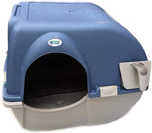 Omega Paw Roll n' Clean - Gatera para gatos (autolimpiable, semiautomática, tamaño pequeño) - M - 41,91cm x 47cm x 43,18cm - color Azul