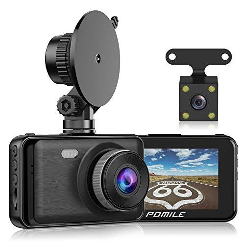 POMILE Dashcam 1080P Full HD Autokamera 3 Zoll LCD-Bildschirm mit 170° Weitwinkelobjektiv WDR, Bewegungserkennung, Parkmonitor, Loop-Aufnahme, Nachtsicht und G-Sensor (schwarz, 6M)