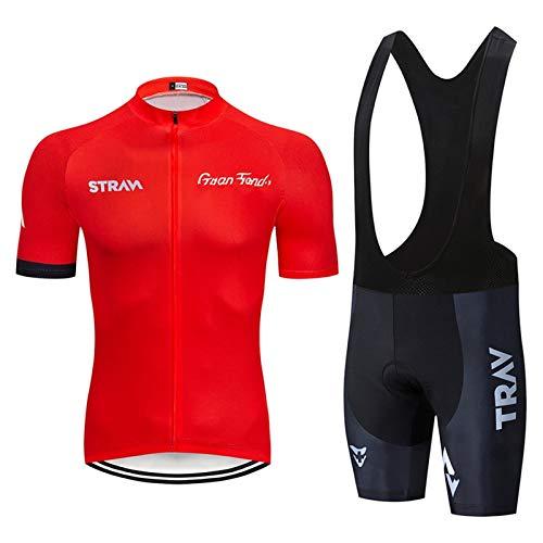 Maillot Ciclismo Corto de Verano para Hombre, Ropa Culote Conjunto Traje Culotte Deportivo Gel para Bicicleta MTB Ciclista Bici (Red A,L)