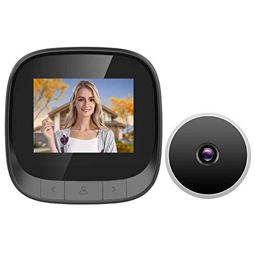 Visor de puerta digital, visor de puerta electrónico WLAN, con monitorización por infrarrojos y cámara HD, pantalla LCD de 2,4 pulgadas, gran angular de 90 °, soporte para grabación/instantánea
