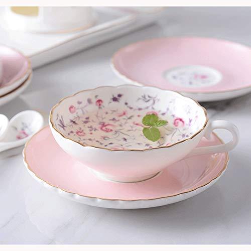 LC_Kwn Man Time Taza de café Europea Conjunto Taza de cerámica Inicio Juego de té Inglés Taza de Flores Tarde Taza de té con Cuchara (类别category : Thousand Roses)