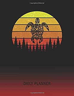 Daily Planner: Tribal Turtle | 2020 - 2021 Daily Planner For 1 Year Of Planning | Retro Vintage Sunset Cover | January 20 - December 20 | Organizer ... | Plan Days, Set Goals & Get Stuff Done