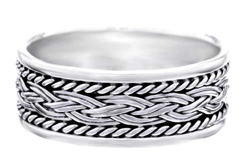 WINDALF Vikings Ring BRYANN 0.8 cm Wikinger Freundschafts Zopf Partnerring Silberring Handarbeit 925 Sterlingsilber (Silber, 60 (19.1))