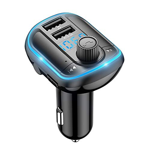 FM Transmitter Wodgreat Auto Bluetooth Adapter Freisprechanlage Car Kit Radio Transmitter Wireless FM Radio Adapter mit Dual USB Ports Unterstützt TF Karte & USB-Stick mit Blauem Hintergrundlicht