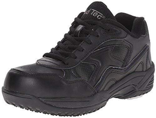 AdTec Women's Black Lace Work Shoe - Composite Safety Toe, Slip Resistant, Breathable + Comfortable 9.5 M US