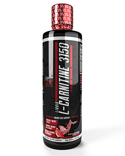 Rich Piana 5% Nutrition Liquid L-Carnitine 3150, Overdosed Fat Burner Supplement, Turn Fat into Energy, Stimulant-Free Metabolism Booster Formula with GBB, 16 fl oz, 32 Servings (Watermelon Candy)