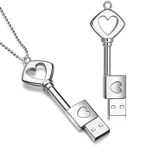Weewooday 2 Pieces Thumb Drives Flash Drives Metal USB 2.0 Memory Drive Stick Key Heart Shaped with 2 Pieces Necklaces for Graduation Presents