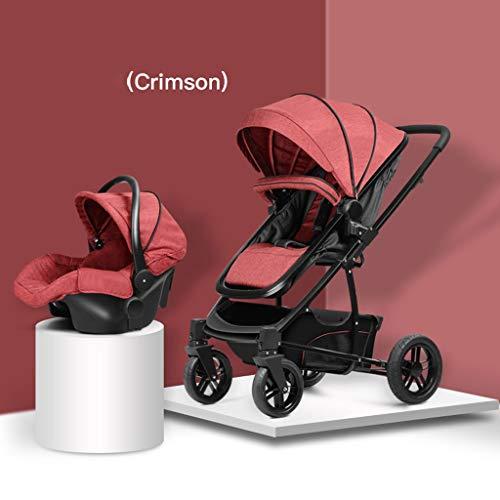 WWWANG Faltbarer Kinderwagen Buggy mit Anti-Shock Rahmen, Liege Luxus Kinderwagen mit Babyschale für Neugeborene Extra Großer Aufbewahrungskorb - Kleinkinderwagen für Reisen und mehr
