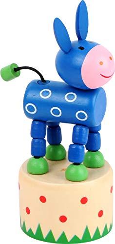 Small Foot 11199 Drückfigur Esel aus Holz, FSC 100%-Zertifiziert, Mitgebsel Spielzeug, Mehrfarbig