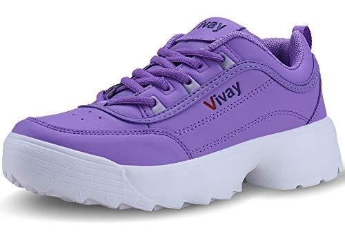 Vivay Damen Sneaker Straßenlaufschuhe Sportschuhe Turnschuhe Outdoor Leichtgewichts Laufschuhe Freizeit Fitness Schuhe(39,lila)