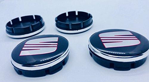 X4 - Emblema de aleación de 55 mm para asiento de coche, color rojo y negro cromado, emblema central, para Leon Ibiza Cupra Toledo Ateca Alhambra Mii Arosa Altea y otros modelos 6ll601171