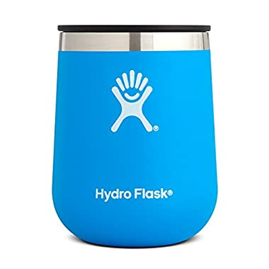Hydro Flask 10 oz Double Wall Vacuum Insulated Stainless Steel Stemless Wine Tumbler Glass with BPA Free Press-In Lid, Pacific