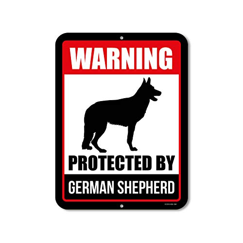 Honey Dew Gifts Beware of Dog Sign Warning Protected by German Shepherd 9 x 12 Inch Beware of Dog Warning Metal Aluminum Sign Decor Beware of Dog Sign
