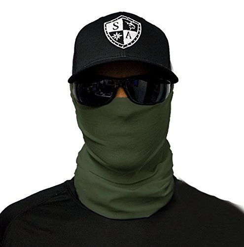 SA Fishing Face Shields ** 40+ Designs verfügbar ** Qualitäts Bandana / Multifunktionstuch / Schlauchtuch / Halstuch aus Stoff & SPF 40 - Face Masks von SA Company, Tactical Faceshield Green