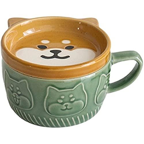 AOTEMAN Taza de porcelana de estilo japonés con tapa Shiba Lnu Panda Taza de cerámica para el hogar, taza de café, taza de desayuno, taza de leche para pareja (taza Shiba Inu, 260 ml)