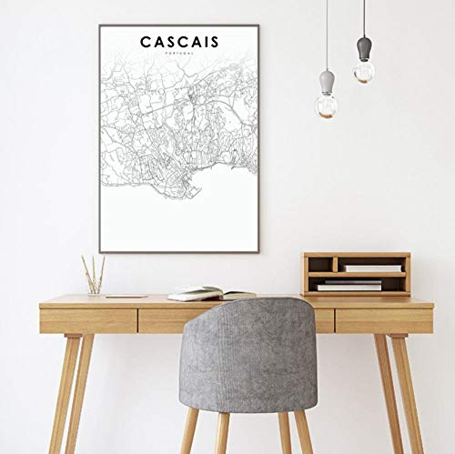 Portugal Mapa de la ciudad Carteles Lisboa Porto Faro Cascais Calle de la ciudad Mapa de ruta Impresiones Arte moderno de la pared Pintura de la lona Decoración para el hogar 16x20 pulgadas (40x50cm)