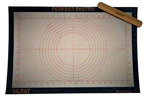 Silpat Perfect Pastry Non-Stick Silicone Countertop Workstation 15x23 inches bundled with Storage Band Orange