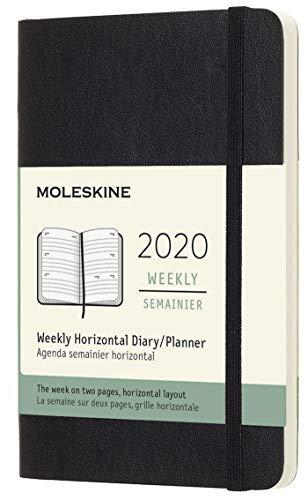 Moleskine 8058647629308 Agenda Semainier Horizontal 12 Mois 2020  Journal avec Couverture Souple et Fermeture Elastique Format de Poche 9 x 14 cm 144 Pages, Noir