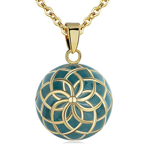 AEONSLOVE Chime Ball Pendant Necklace Vintage Flower Music Wishing Bola for Pregnancy Mom Baby Best Jewellery Gift