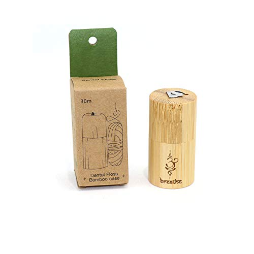 Hilo dental con carbón activado, envase de bambú reutiliza