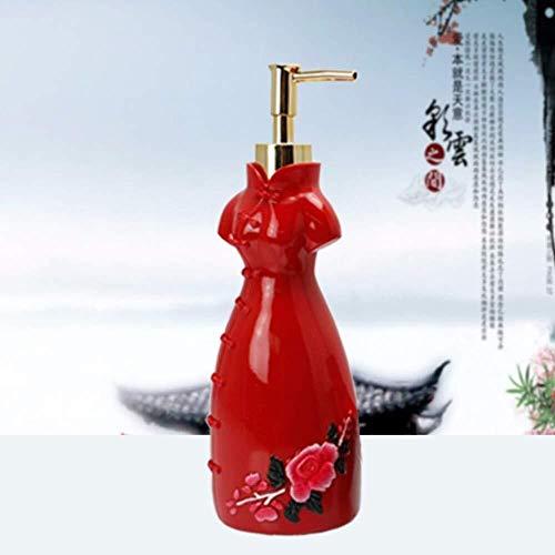 Tangrong Vloeibare zeep Container, handgemaakte rode Cheongsam Carving Shampoo Liquid Hand Sanitizer fles, Creative Novelty Refillable Eco Resin keramische zeepdispenser, 300ml