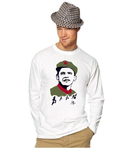 ObaMao Premium Shirt Obama Mao langarm longsleeve weiss S
