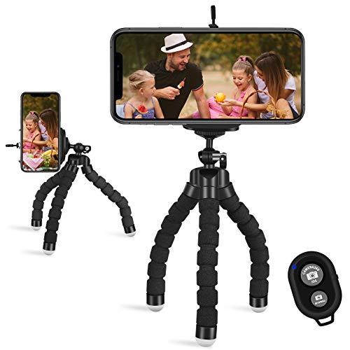 UNIQUE BRIGHT Trípode para teléfono móvil de Viaje Mini Soporte para trípode Selfie con Control Remoto Bluetooth Compatible con teléfono Inteligente/cámara