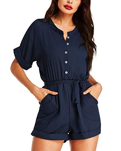 Auxo Damen Kurze Overall Jumpsuit Kurzarm Bluse Kurz Hosen mit Gürtel Einteiler Sommer Strand Party Playsuit 03- Navy Etikettgröße M
