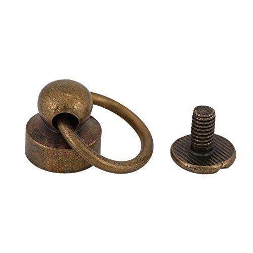 20 Sets runde Ziehringnieten aus Messing, DIY Lederhandwerk, Metallnieten mit Ziehring-Schnalle, Lederwaren-Schrauben, Nagelnieten für Geldbörse, Handyhüllen-Dekoration, 9 mm (Bronze)