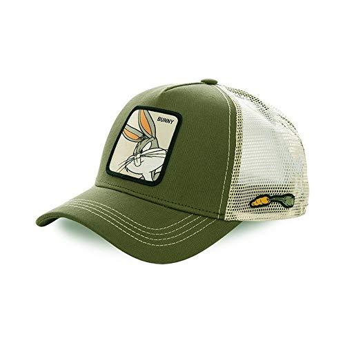 Collabs Gorra Bugs Bunny, Trucker Cap colección Looney Tunes - Color Blanco y verde, Talla única y Unisex