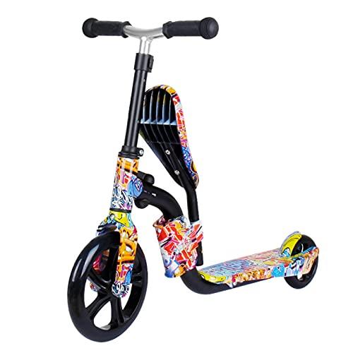 Lixada Patinete 2 en 1 y Bicicleta de Equilibrio para Niños Patinete de Ruedas Grandes Patinete Plegable Pequeños de 3 a 12 Años con Altura Ajustable y Asiento Patinete Ligero