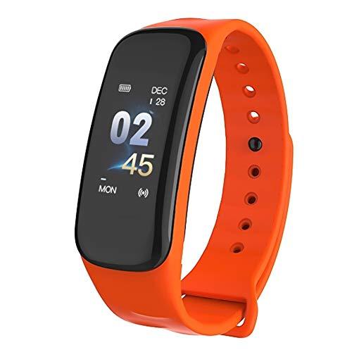 IP67 Pulsera inteligente para mujer y hombre, reloj de fitness con contador de pasos, control del sueño (color: naranja)