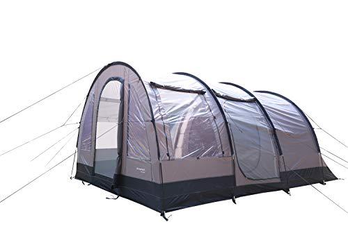 """MK Outdoor Campingzelt """"XXL Europe""""für 4-5 Personen, Großes (480cm x 310cm x 208cm - LxBxH) Familienzelt mit 3 Eingängen und 5.000 mm Wassersäule, Tunnelzelt, grau, Gruppenzelt, Ideales Vorraumzelt!"""