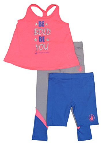 'Body Glove Girls\' 3-Piece Athletic Set with Shorts Long Pants and Tank Top, Size 4, Pink and Grey'