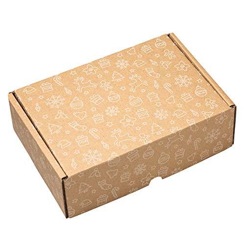 packer PRO Pack 25 Cajas Carton Envios Kraft Automontables para Ecommerce y postal, Navidad Pequeña 25x18x8cm