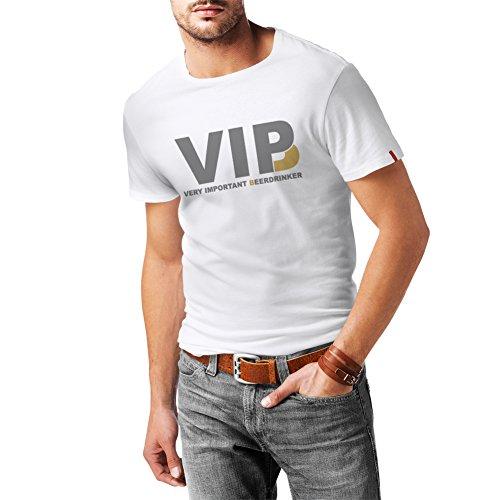 lepni.me Männer T-Shirt Sehr wichtig Biertrinker - Alkohol, betrunken, lustig Trinksprüche - Humorvolle Geschenkideen, Bar oder Partykleidung (Large Weiß Silber)