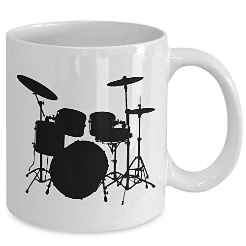 Betsy34Sophia Schlagzeuger Kaffeetasse Schlagzeug Drum Set Schlagzeug Silhouette Geschenke f¨¹r Musiker 11 Unzen wei?e Kaffeetasse