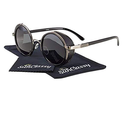 2 Pair Indie Old School Steampunk Side Shield Men Womens Round Sunglasses Black