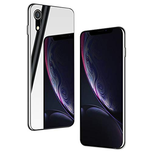 NALIA Spiegel Hartglas Hülle kompatibel mit iPhone XR, Mirror Hard-Case 9H Tempered Glass Cover & Silikon Bumper, Kratzfeste Handyhülle Schutzhülle Etui Handy-Tasche Dünn Backcover, Farbe:Silber