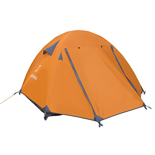 Winterial Three Person Tent - Lightweight 3 Season Tent with Rainfly, 4.4lbs, Stakes, Poles and Guylines Included, Camping, Hiking and Backpacking Tent, Orange