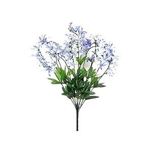 """Silk Flower Arrangements Blue Cream Freesia Bush Filler Artificial Silk Flowers 22"""" Bouquet 12-0999 BL"""