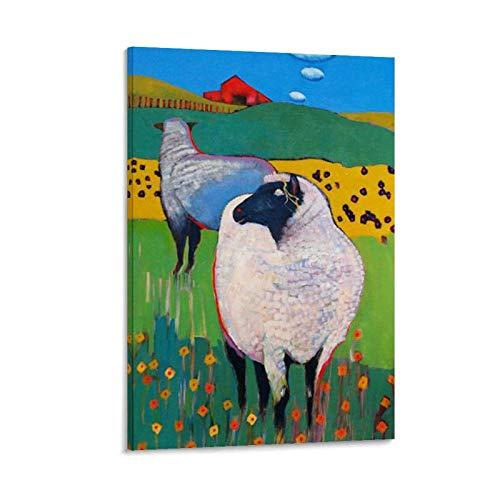 NCJK Póster abstracto de ovejas de arte independiente pintura decorativa lienzo arte de la pared carteles sala de estar dormitorio pintura 60 x 90 cm