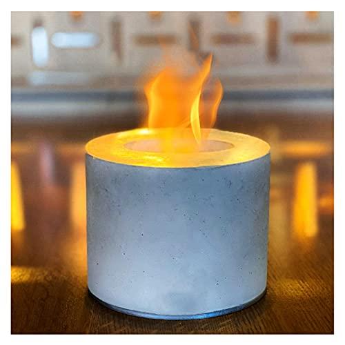 Tazón de Fuente de Fuego portátil para Mesa, Mesa de Fuego de propano y tazón de hormigón Personal, tableros de Mesa Mesa de Fuego para Uso en Interiores fogatas al Aire Libre (Color : White)