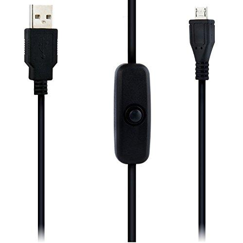 Aukru Cavo d'alimentazione Micro USB con interruttore On / Off per Raspberry Pi ,Samsung,Sony,Nexus,HTC,LG,Blackberry,Motorola,Nokia ecc Smartphones - 1.5 M (Nero)