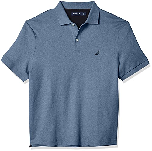Nautica Men's Classic Fit Short Sleeve Solid Soft Cotton Polo Shirt, Deep Anchor Heather, XX-Large