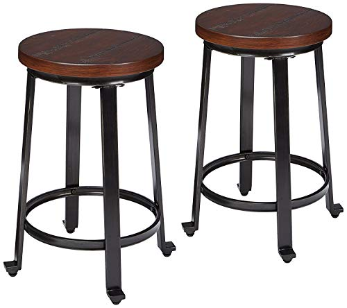 Signature Design by Ashley - Challiman Bar Stool - Counter Height - Set of 2 - Rustic Brown